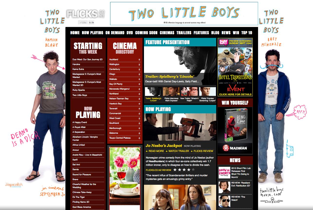 Hopscotch Movie - 2 Little Boys site skin and banner running on www.Flicks.co.nz