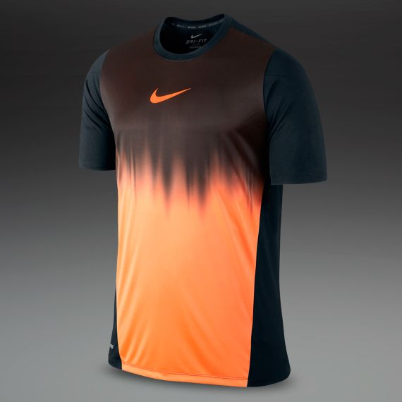Nike Mens Clothing - Graphic Short Sleeve Faded Top - Football - Training -  Black Orange c8be25171d1