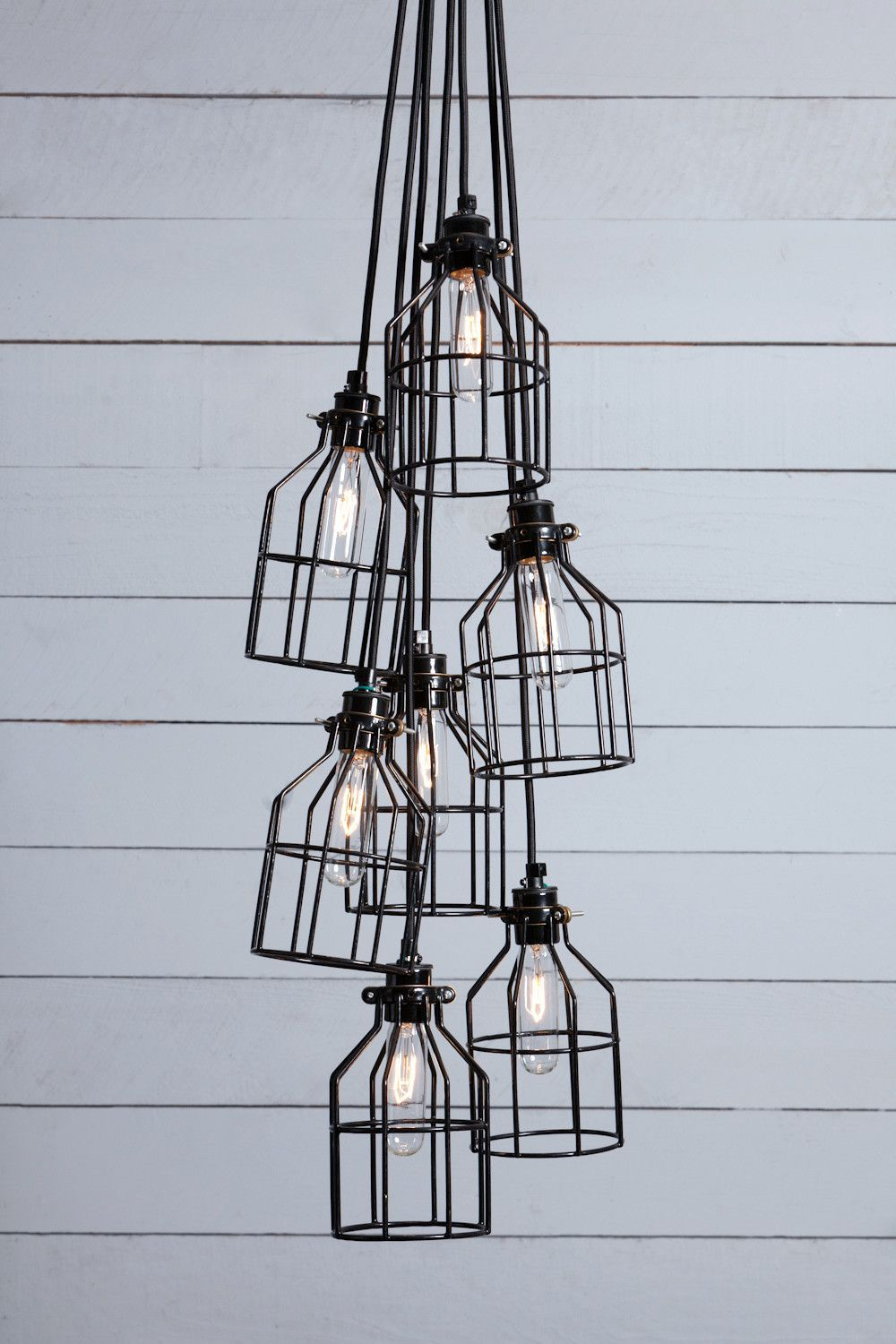 Industrial Chandelier - Black Wire Cage - 7 Light Cluster ...