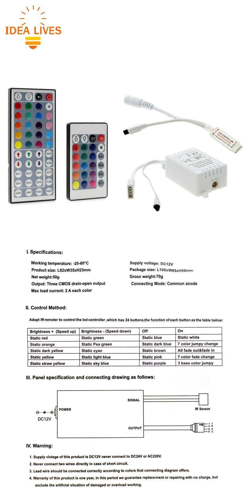 Visit To Buy Led Rgb Controller Dc12v Mini 44 24 Key Ir Remote Controller For 3528 5050 Rgb Led Strip Lights Rgb Led Strip Lights Rgb Led Led Strip Lighting