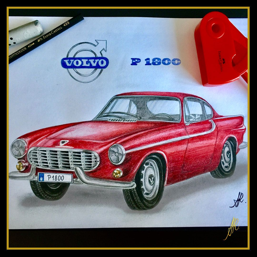 Volvo P1800 drawing, 1960´s, classic cars