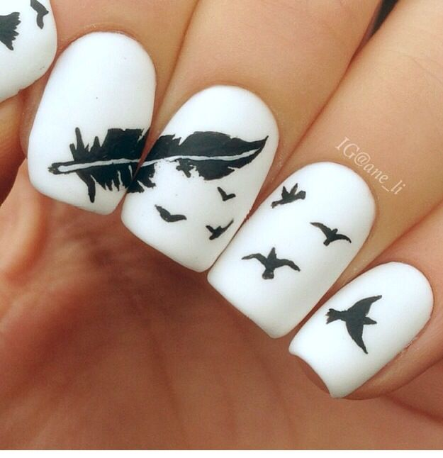 Bird and Feather Nails. Very pretty! I have to say, I am really into this feather  design. - IG Nails Funky/Edgy Nails Pinterest Edgy Nails, Acrylic Nail