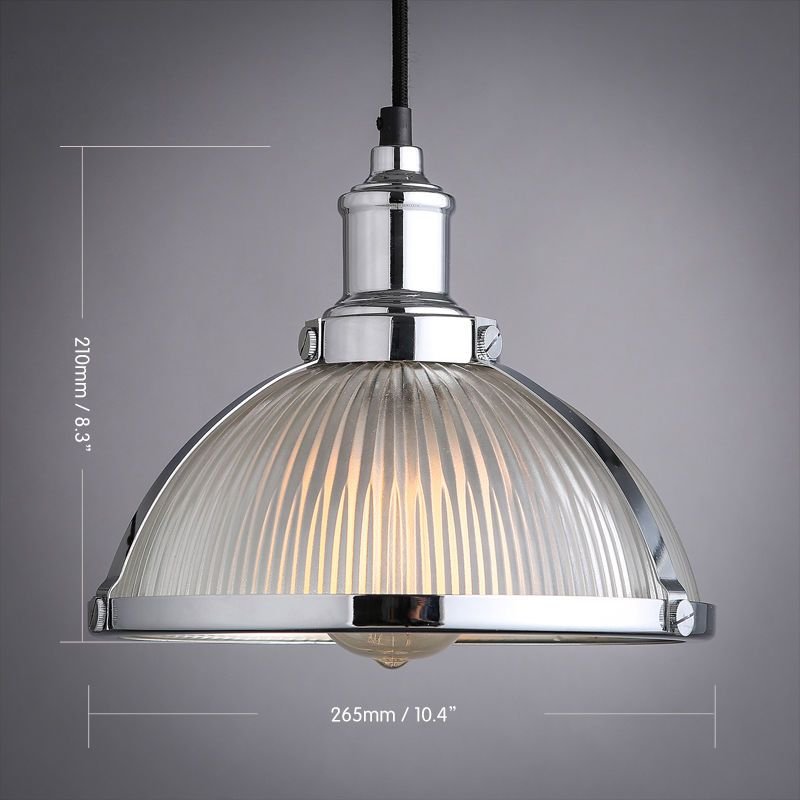 Industrial Prismatic Ribbed Glass Round Dome Pendant Light One Ceiling