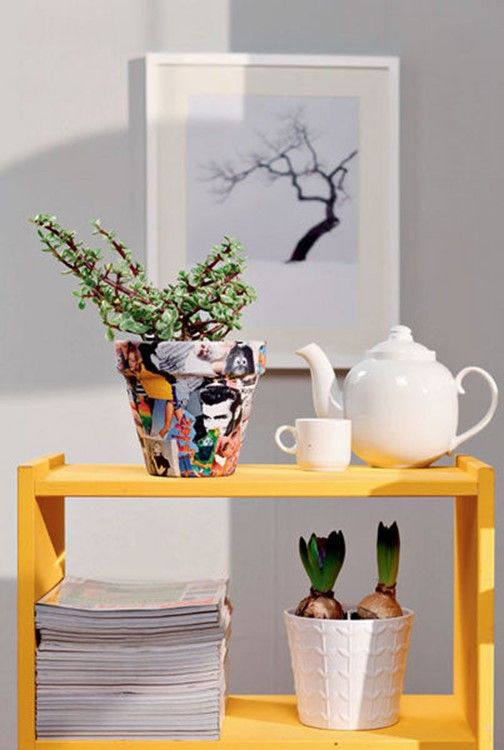 An interesting decoration of flower pot. 3 awesome DIY ideas for you: pictures, wire, yarn