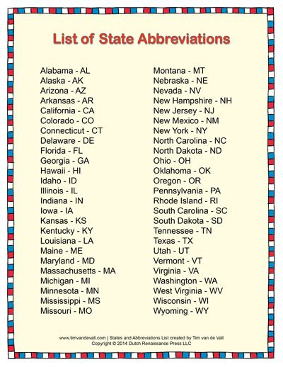 List Of State Abbreviations States And Capitals Cc Cycle 3 4th Grade Social Studies