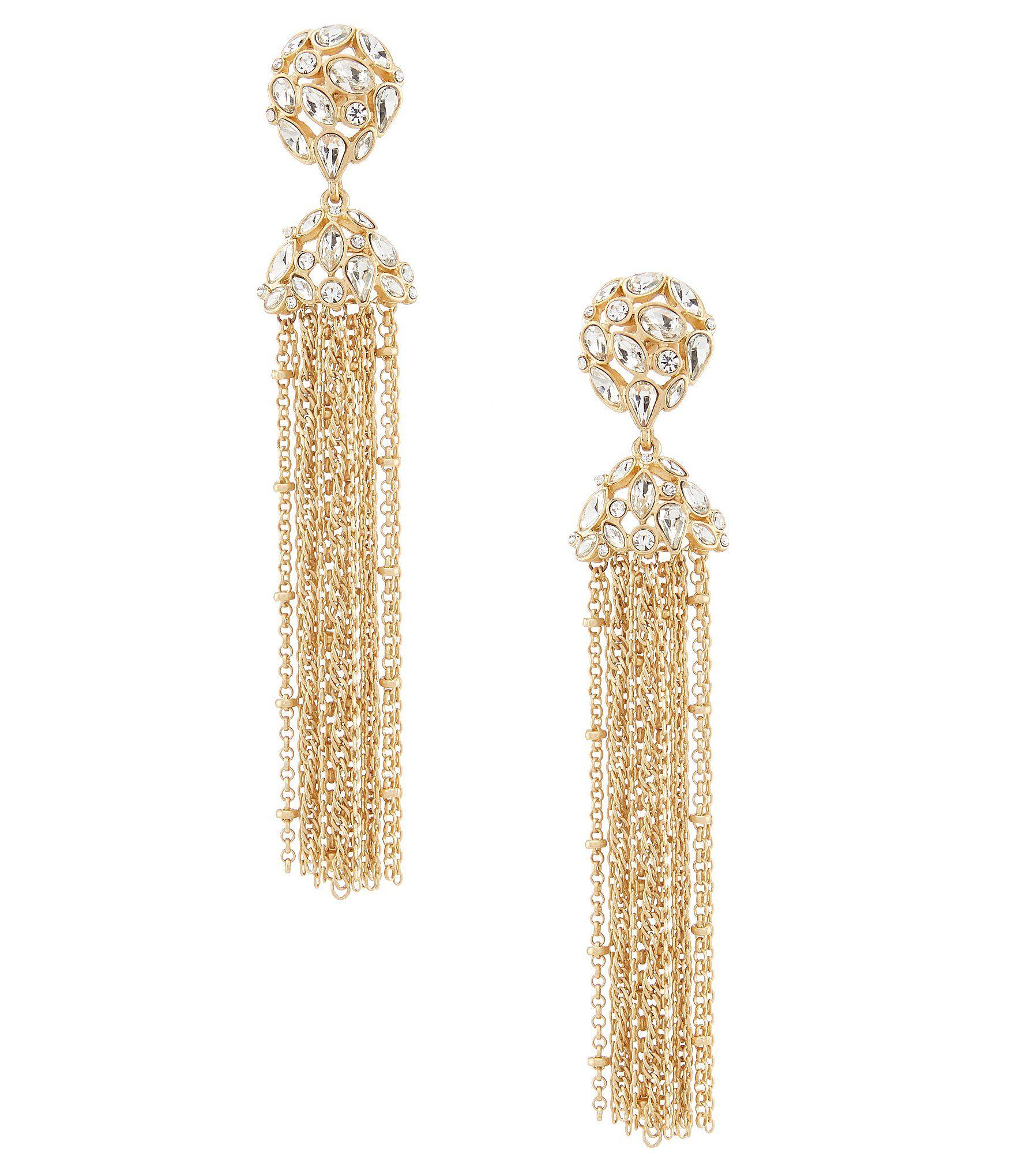 Belle Badgley Mischka Stone Multi Chain Tassel Drop Earrings | Dillard's