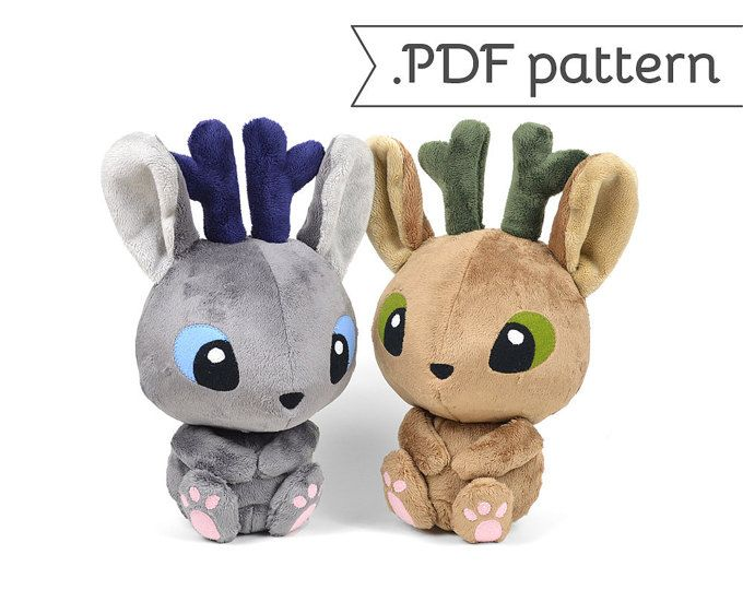 Jackalope Jackrabbit Antelope Bunny Rabbit Wolpertinger Plush Sewing ...