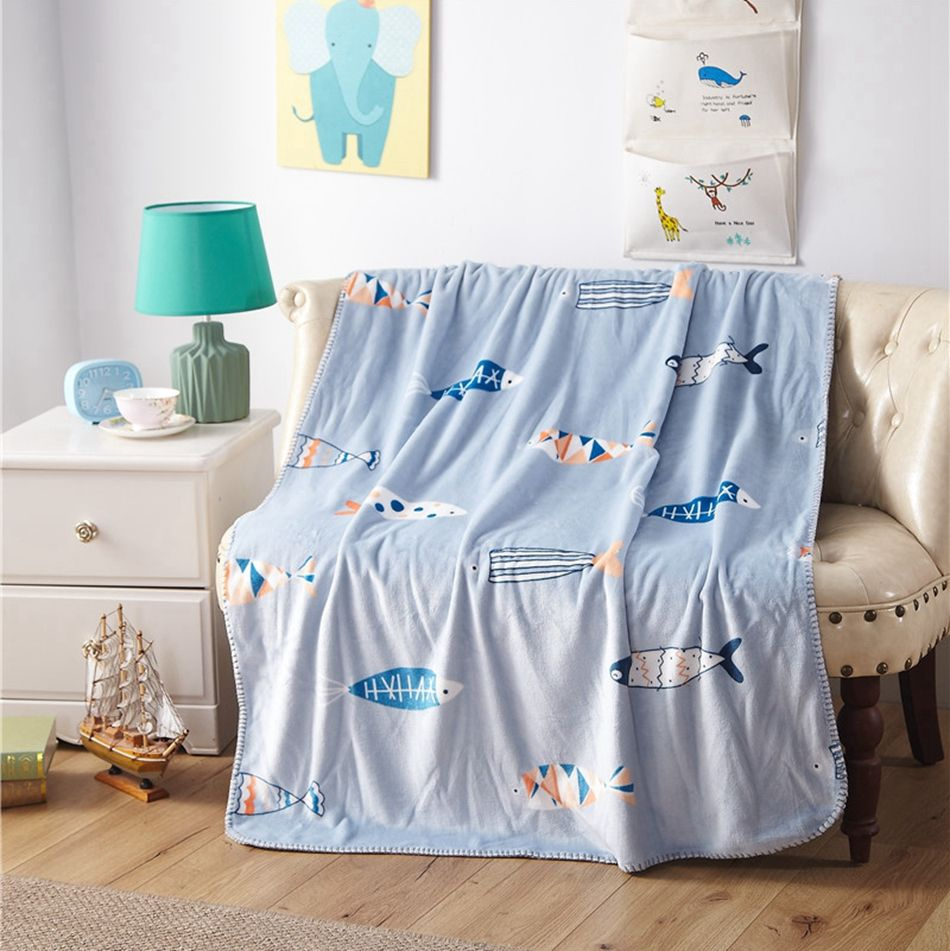 Blue Flannel Fleece Blanket for Sofa/chair/bed