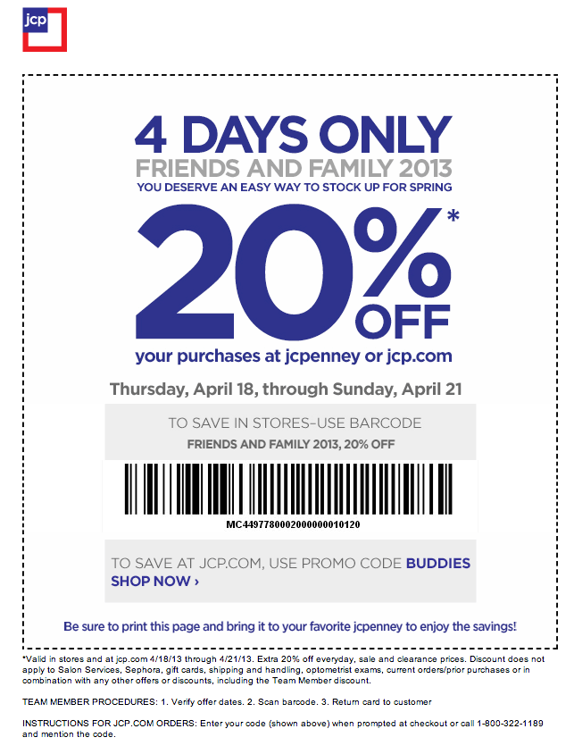 JCPenney 20 off Printable Coupon Jcpenney coupons