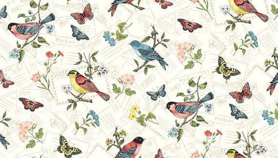 Bird Fabric Erfly Vintage