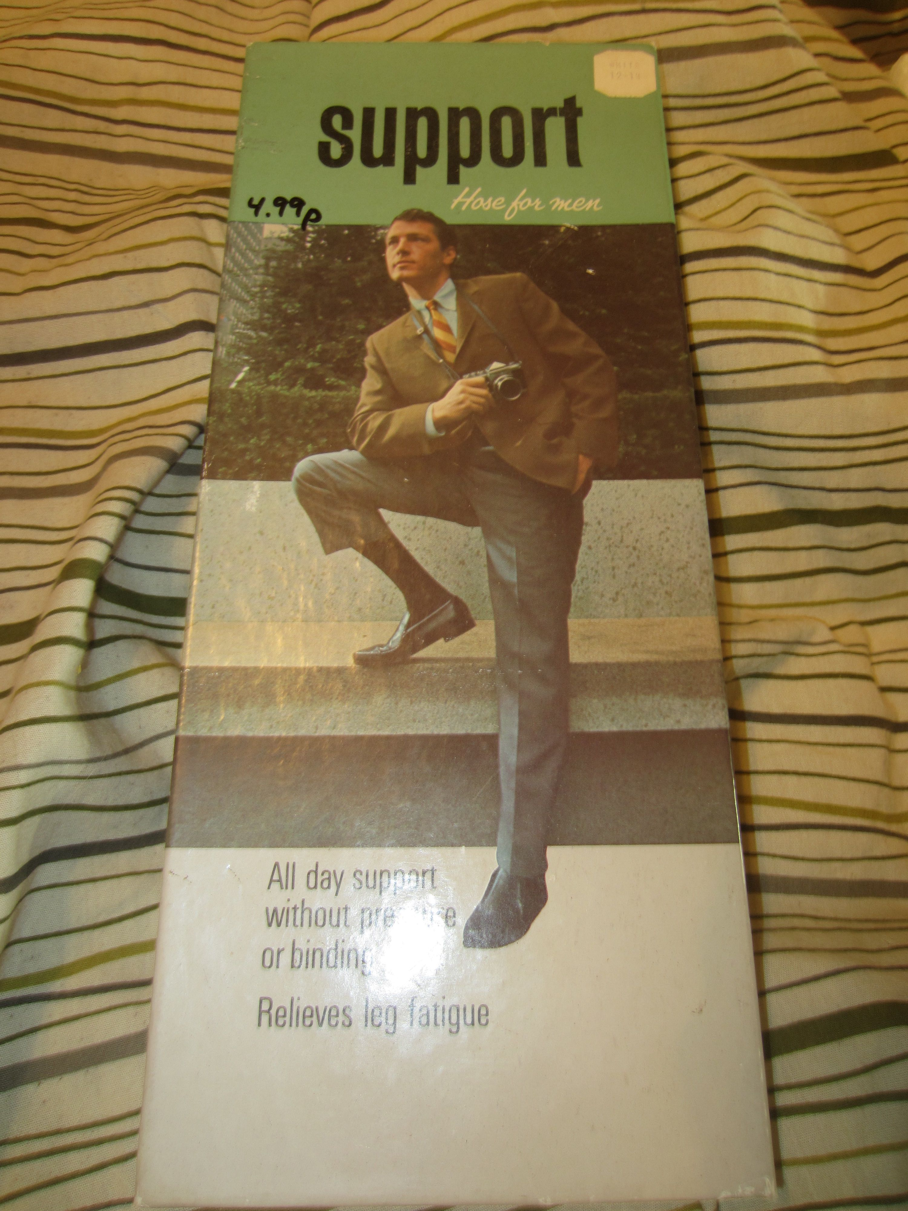Vintage Support Hose For Men All Day Support without Pressure kitschy Advertising sizes 12-14