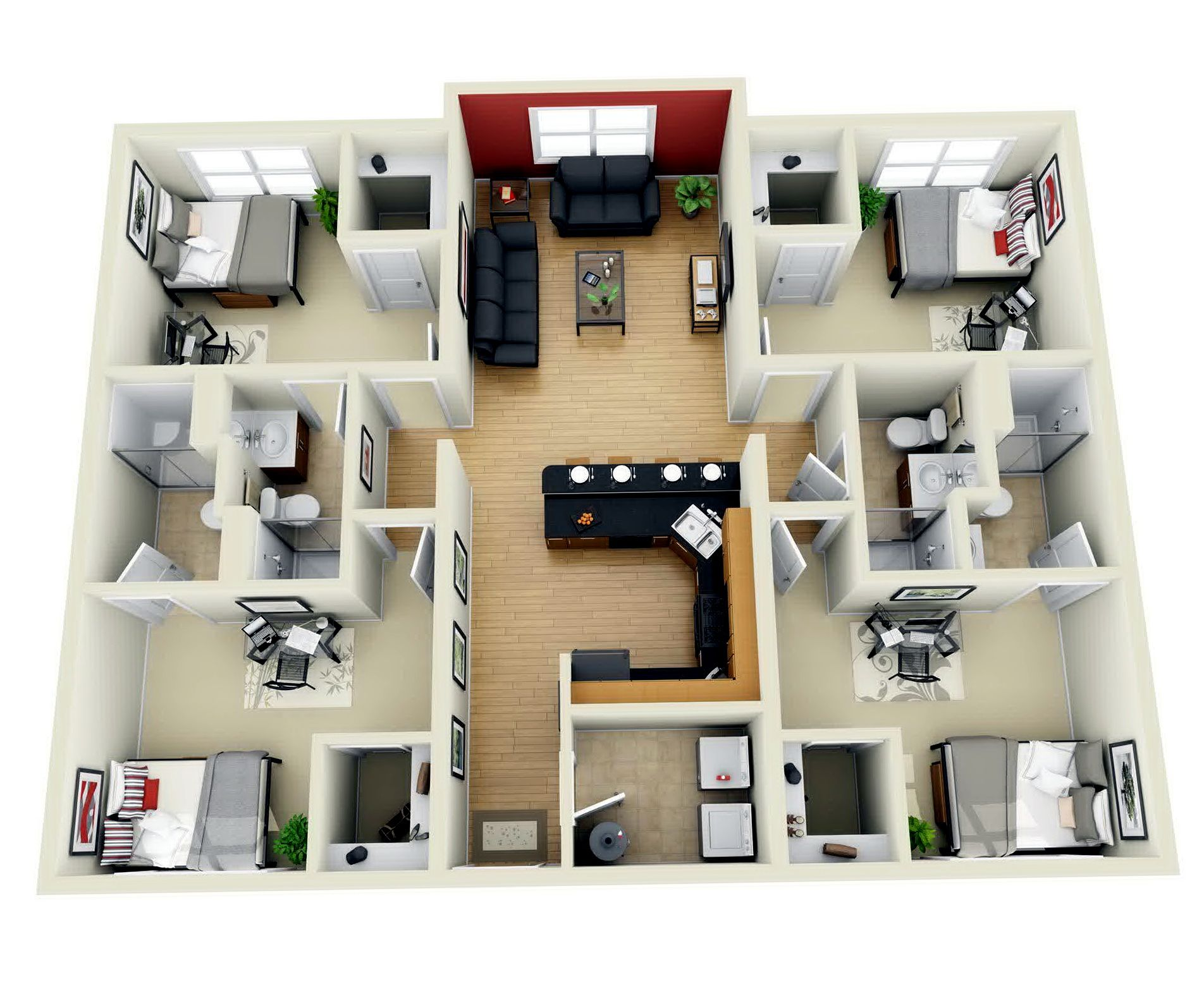 Pin By Vaughn Akoda On A Place For Floorplans Apartment Floor Plans Bedroom House Plans 3d House Plans