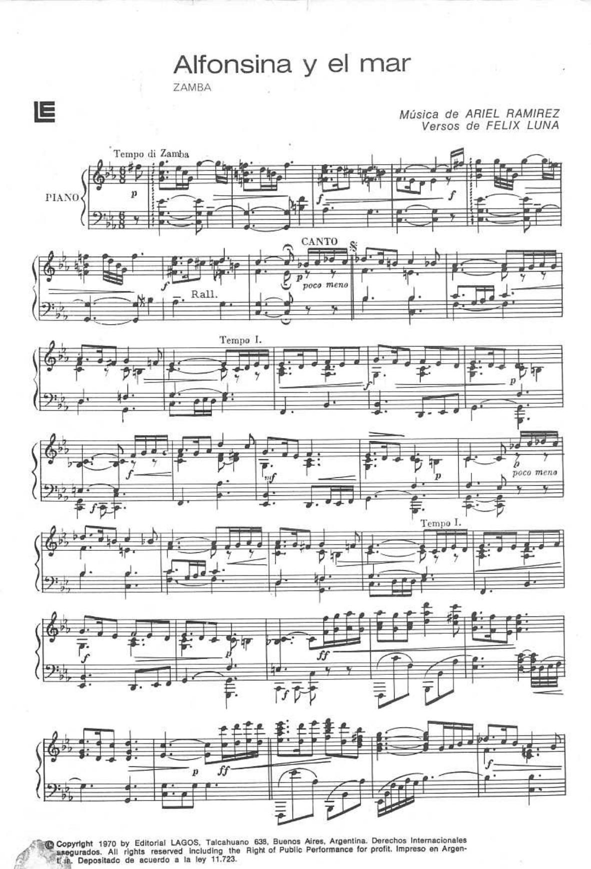 ALFONSINA Y EL MAR SHEET MUSIC PDF