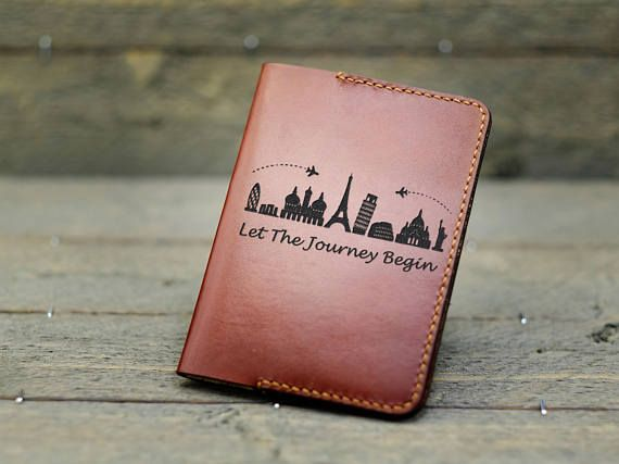 0ee3364a4528 Leather Passport holder with famous City Icons, Personalized ...