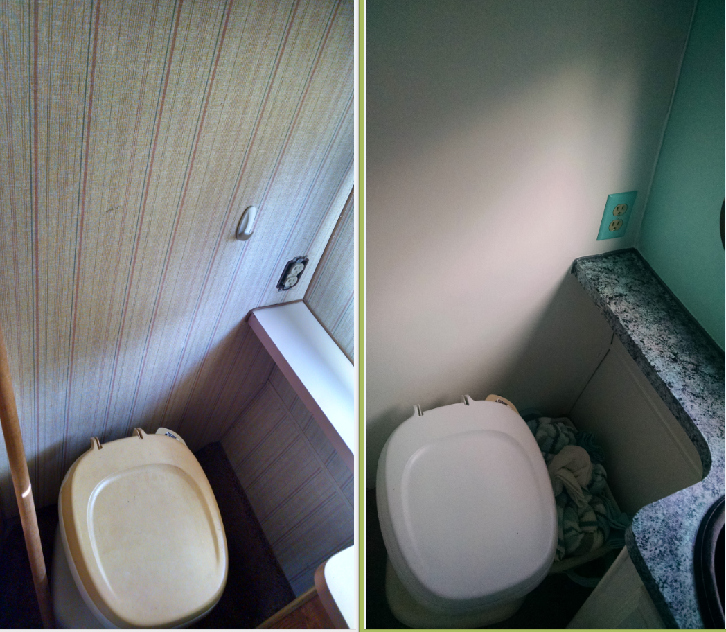 Toilet before and after. In the bathroom I painted over