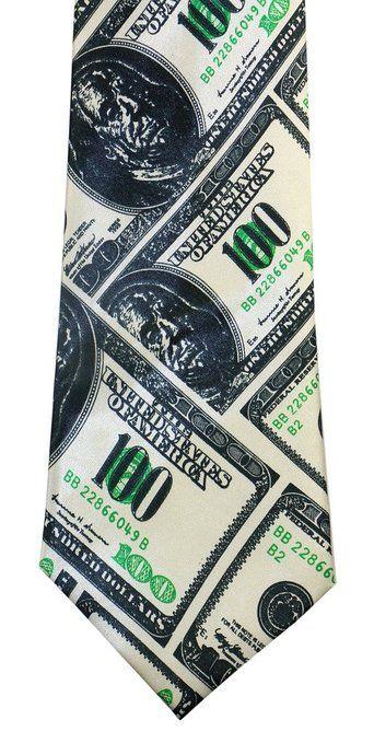 OCIA® Money Theme Print Microfiber Novelty Necktie N001-BK Black and Green