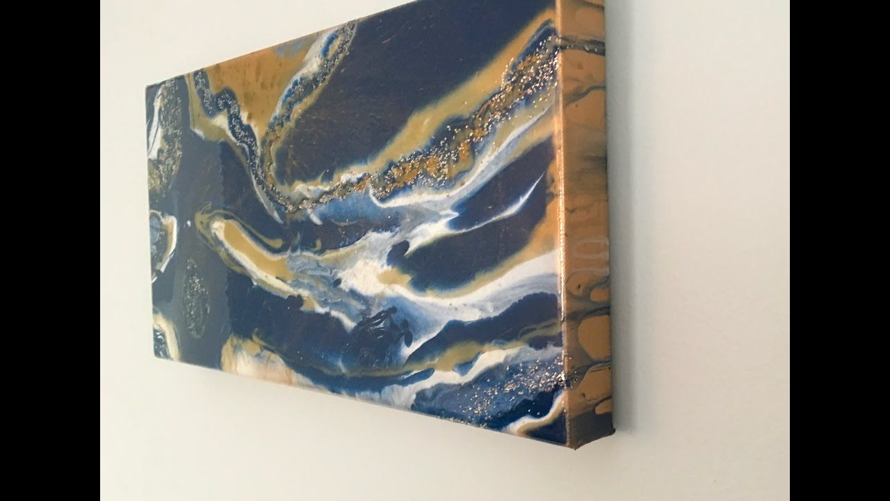 Resin pour art gold indigo white w pigments and glitter How
