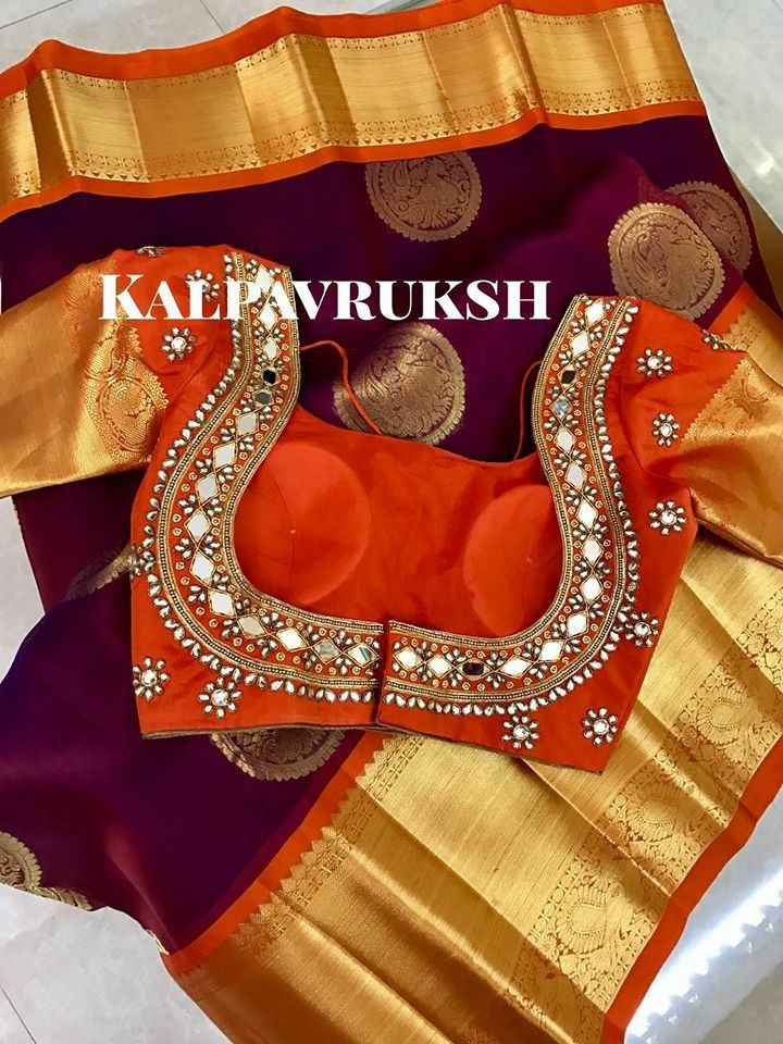 74e093d9a454e2 Mirror work blouse on kanchipuram saree | Blouse designs | Blouse ...