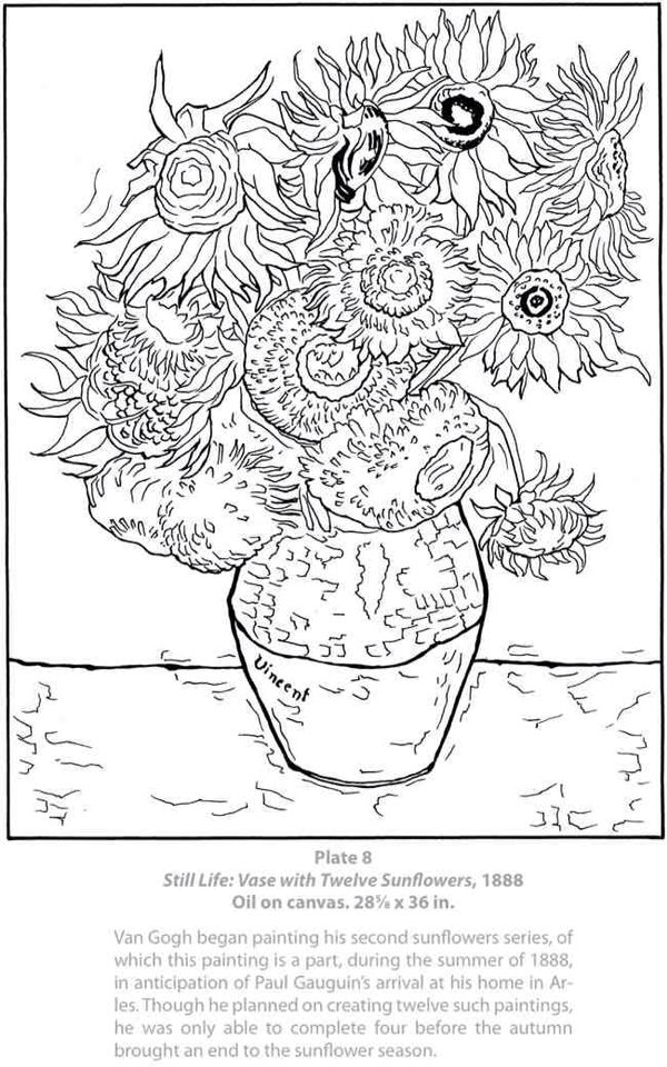 Van Gogh Van Gogh Coloring Coloring Pages Coloring Book Pages