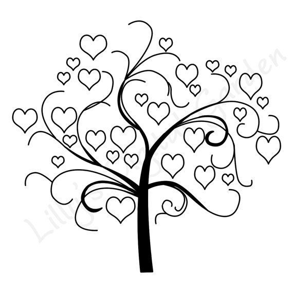 Swirly Tree Digi Stamp Tree Digital Stamp Digistamp Hearts Heart
