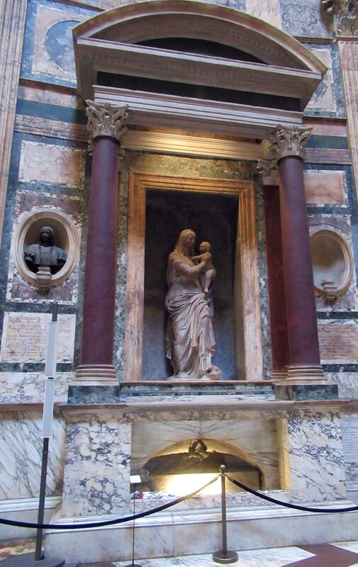 Lorenzetto, tomb of Raphael in the Pantheon, Rome in 2020