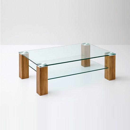 Snowdon Glass Coffee Table Rectangular In Clear And Knotty Oak