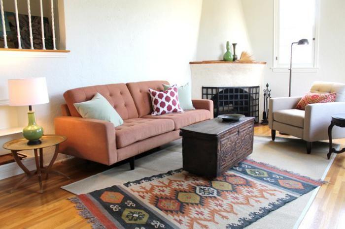 salon marocain moderne, idée déco simple, salle de séjour à thème ...