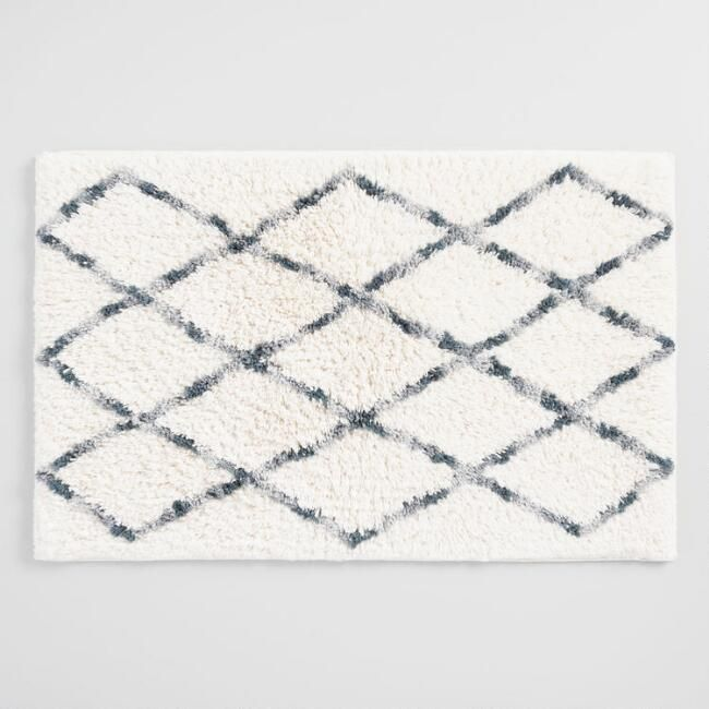 Gray And Ivory Moroccan Shag Bath Mat World Market 15 With