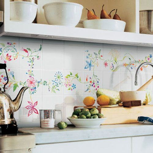 Simple Kitchen Tile Ideas hand painted wall tiles, simple ways to decorate old bathroom and