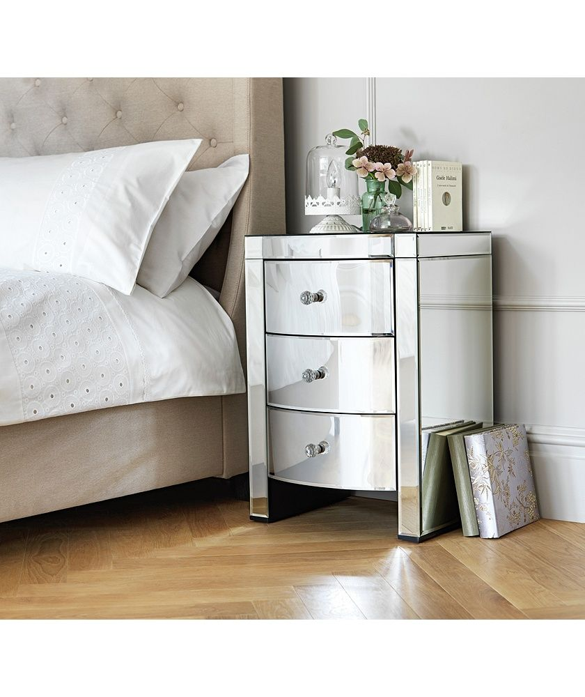 Buy Heart Of House Canzano 3 Drawer Mirrored Bedside Chest At Argoscouk