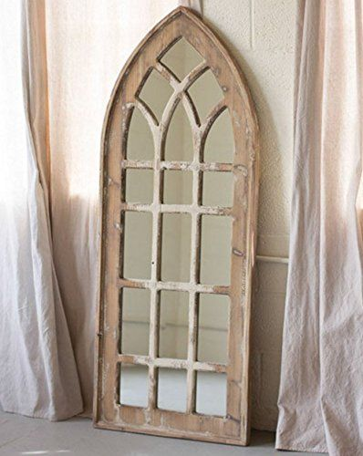This Large Tall Church Mirror Is Even Prettier In Person Distressed Wood It Can Be Hung Or Le Rustic Furniture Design Rustic Furniture Brick Exterior House