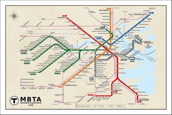 Boston Subway Map Poster.Boston Subway Map Boston Metro Map Subway Map Boston Map Subway
