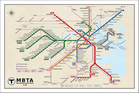 Boston subway map poster tube map map art metro map by mondomappa boston subway map poster tube map map art metro map by mondomappa gumiabroncs Choice Image