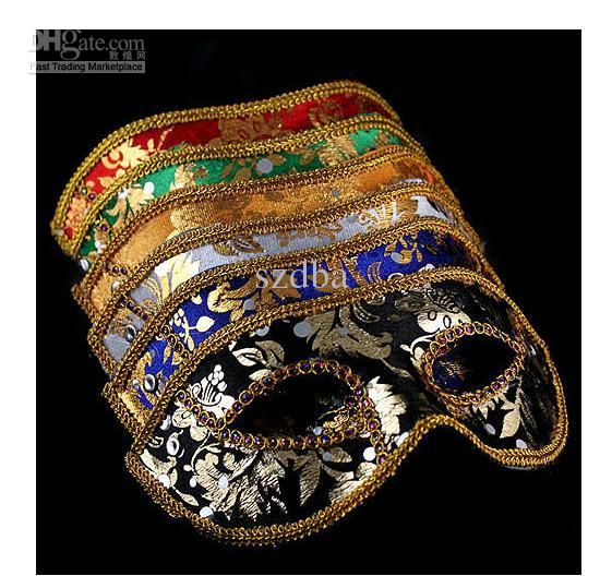 20pcs half face mask halloween masquerade mask male venice italy flathead lace bright cloth masks - Halloween Costumes With A Masquerade Mask