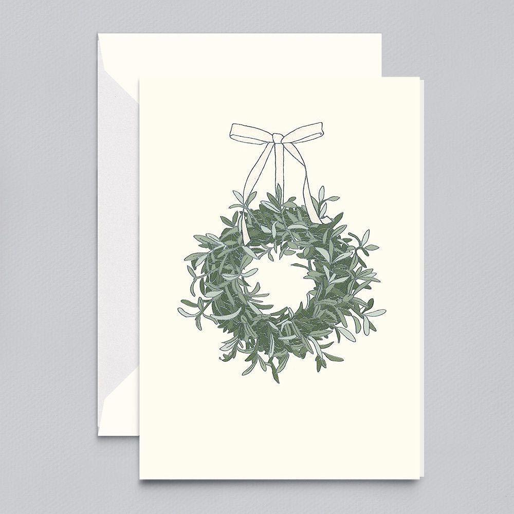 Photo of Vera Wang Engraved eucalyptus wreath holiday greeting card
