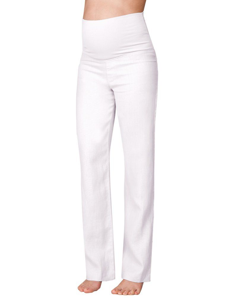 866bac853eddd Smart White Linen Maternity Trousers in 2019 | Products | Trousers ...
