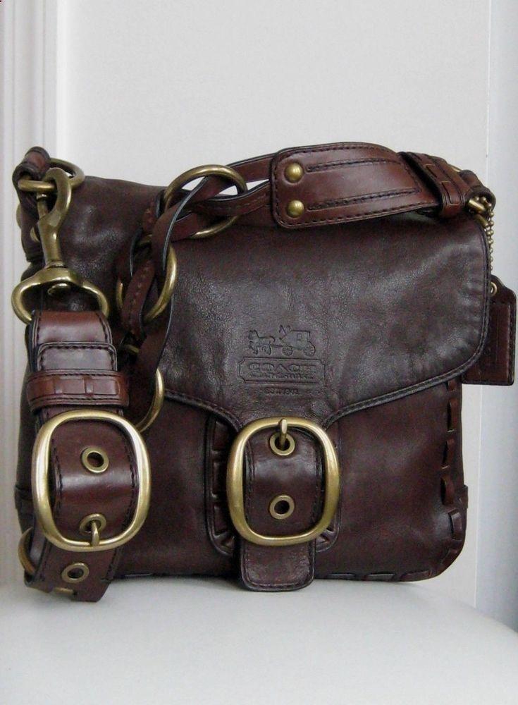 a757ca01b097 COACH 11446 Ltd Edition Bleecker Dark Brown Leather Tattersall Purse -  Pristine!  Coach  ShoulderBag
