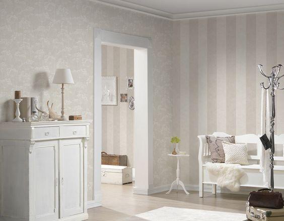 Pareti A Strisce Beige : A s création tapete tapete beige weiß natur floral