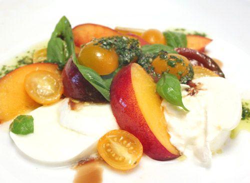 nectarine & tomato salad w/ proscuitto & buffalo mozzarella