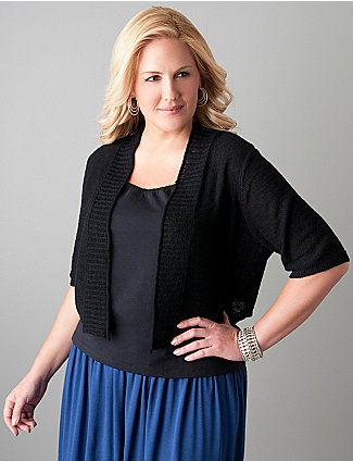 Add a little warmth and trendy layered style to tops & dresses with our slub linen shrug. Cropped short sleeve shrug never goes out of fashion with ribbed trim on cuffs and placket. Wardrobe must-have! lanebryant.com