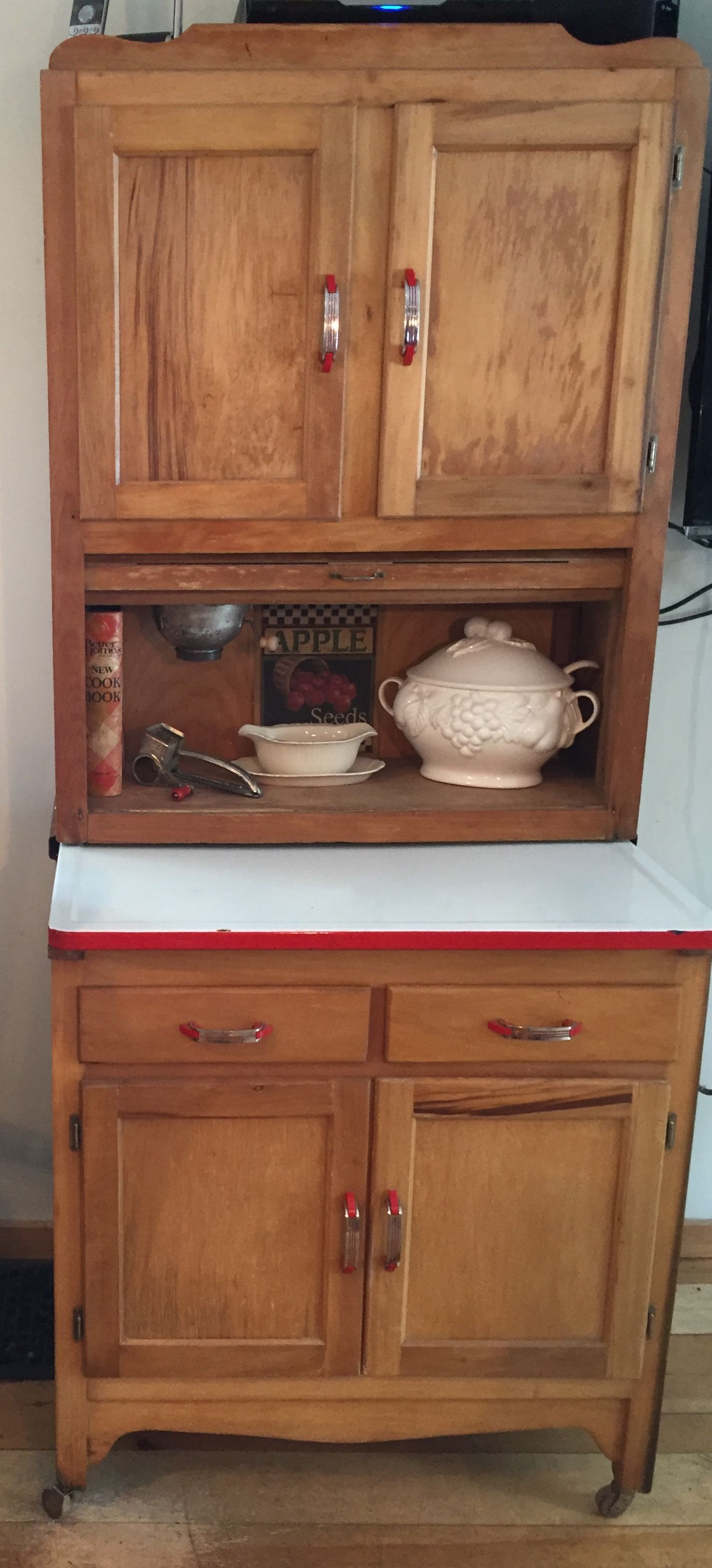 Apartment Size Hoosier Cabinet 1940 S With Red And Chrome Handles Hoosier Cabinet Chrome Handles Cabinet