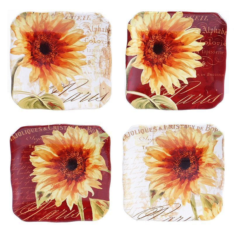 Certified International Parisian Sunflower 4-pc. Square Canape Plate Set, Multicolor