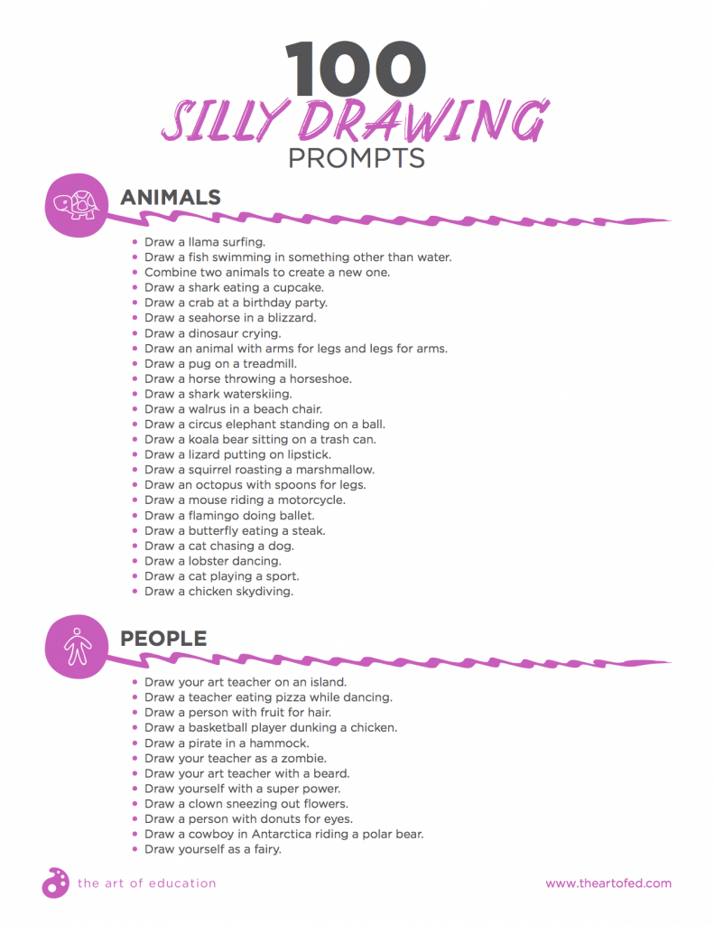 100 Silly Drawing Prompts to Engage Your Students - The Art of Education University #drawingprompts
