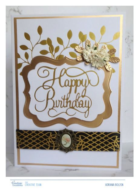 A Golden Birthday Card With Adriana Couture Creations Gopress