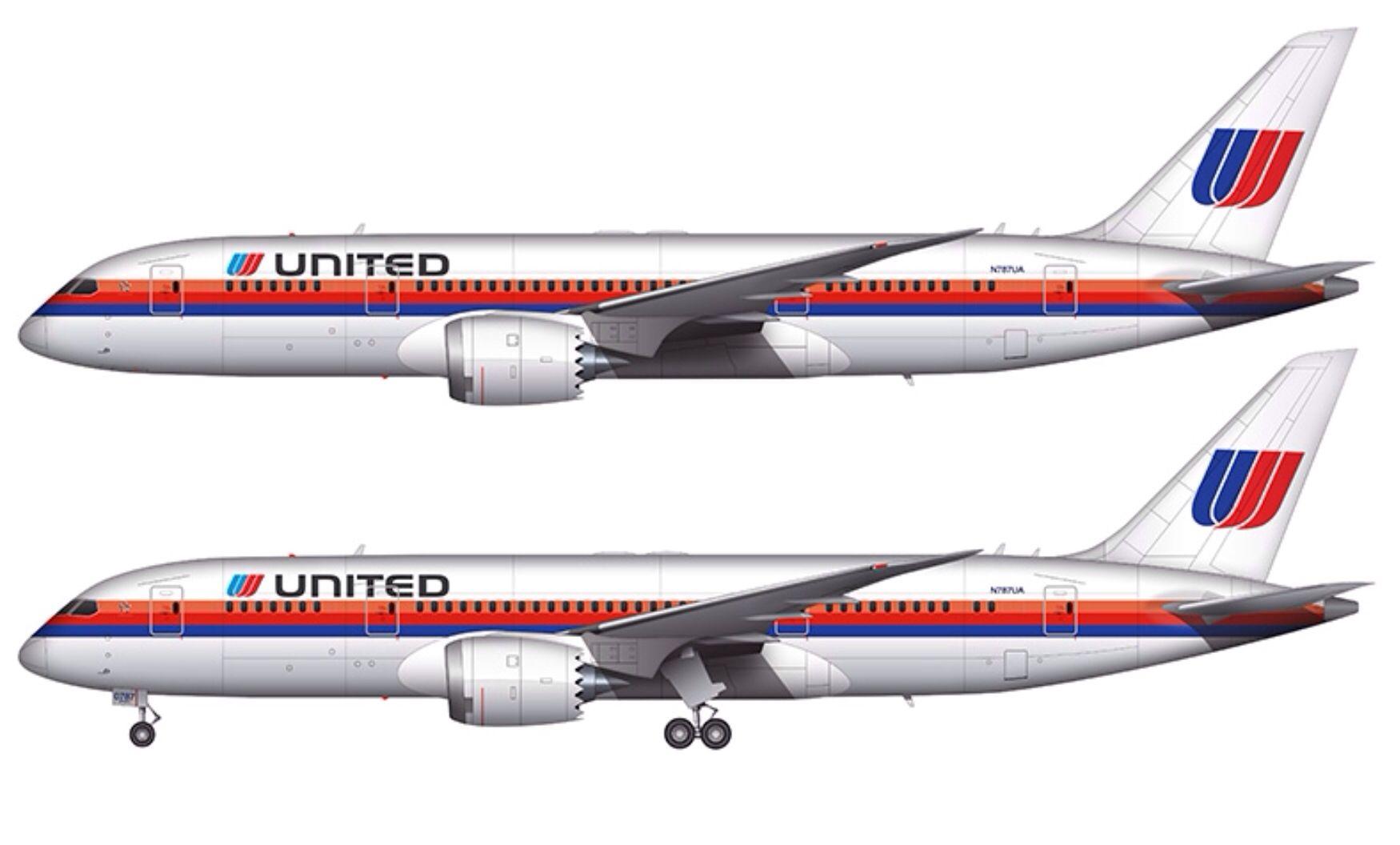 Retro 70's united Airlines logo/ 787 United airlines