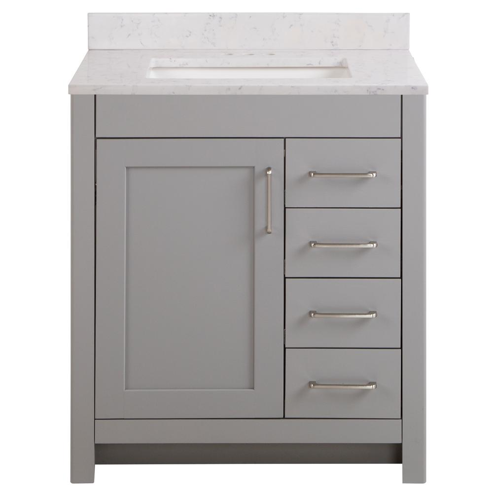 Home Decorators Collection Westcourt 31 In W X 22 In D Bath Vanity In Sterling Gray With Stone Effect Vanity Top In Pulsar With White Sink Wt30p2v3 St The H White Sink 22 inch vanity with sink