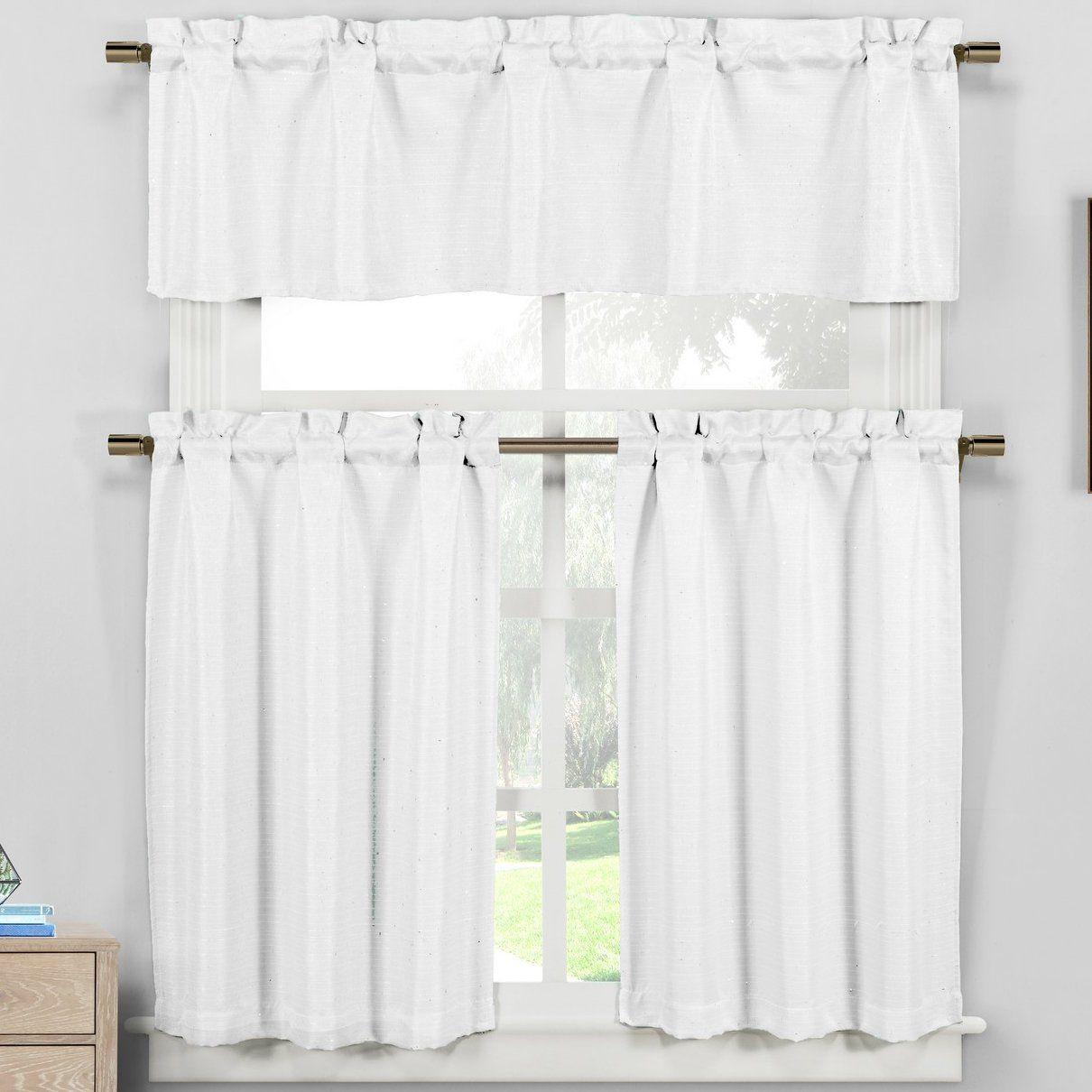 Fraser 3 Piece Kitchen Curtain Set Curtains Kitchen Curtains