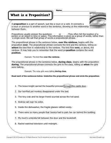 What is a Preposition? Printable Worksheet | ELA middle school ...
