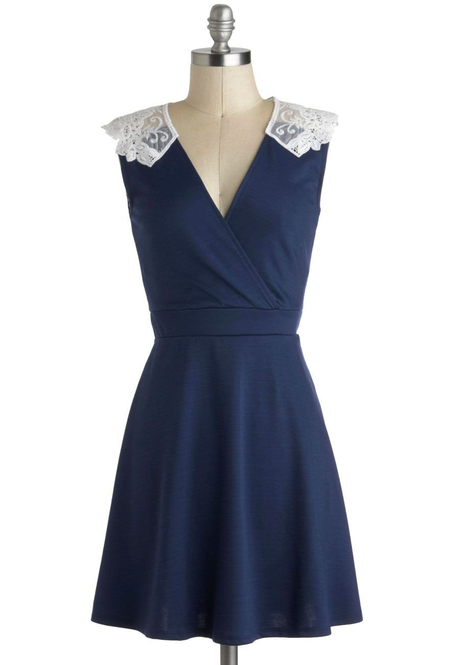 Tea Time of Day Dress. Whether its brunch, lunch, or a late dinner youre dressing for, give it the tea party treatment with the white lace shoulders of this deep blue dress! #blue #modcloth