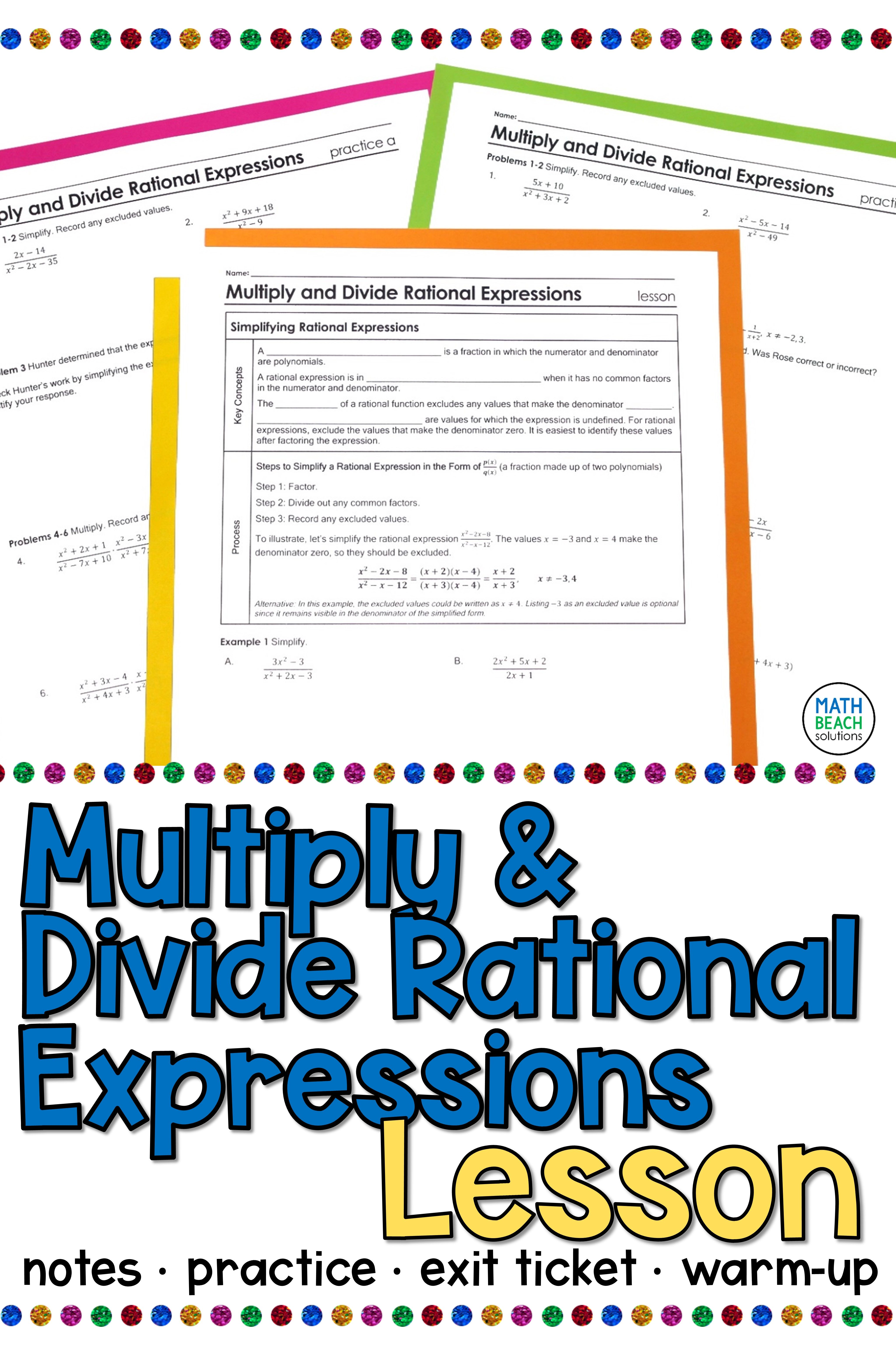 Multiply And Divide Rational Expressions Lesson Rational Expressions Simplifying Rational Expressions Algebra Lesson Plans
